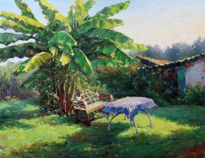 L'arbre au jardin (Weixuan Li,peinture huile, 65.50cm)