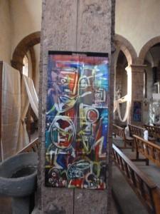 Peinture soie église de Ch