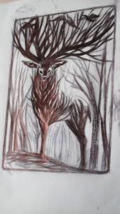 L'arbre-cerf  tient haut sa ramure de bois, sur laquelle les corbeaux et des pies  déploient leurs ailes: la fécondité des formes, des regards et des postures mêlées