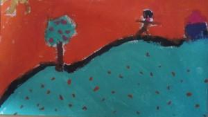 Un enfant entre le pommier, le pré, le soleil et la maison